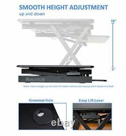 Rocelco 32 Height Adjustable Standing Desk Converter Sit Stand Computer Wo