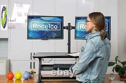 Rocelco 37.5 Deluxe Height Adjustable Standing Desk Converter Quick Sit Stand