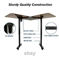 Sit Stand Electric Computer Desk Adjustable Height Space-Saving Pen Case Office