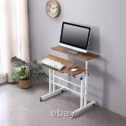 Sit Stand Office Computer Desk Adjustable Workstation Laptop Table With Wheels V