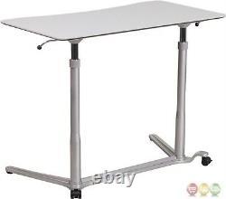 Sit-down Stand-up Adjustable Gray Computer Desk Designed for Desktop & Laptop