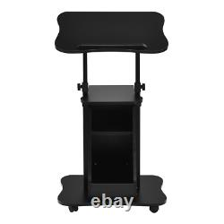 Sit-to-Stand Laptop Desk Cart Home Rolling Mobile With Storage Adjustable Height