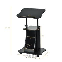 Sit-to-Stand Laptop Desk Cart Rolling Mobile Height Adjustable Office With Storage