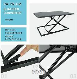 Slim Standing Desk Converter, Adjustable Sit Stand Workstation PA-TW-3-M