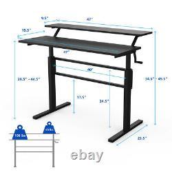 Standing Desk Crank Adjustable Sit to Stand Workstation for Home & Office Black