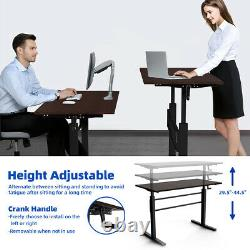 Standing Desk Height Adjustable Sit to Stand Workstation withCrank Handle Brown
