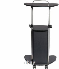 Techni Mobili Sit-to-Stand Rolling Adjustable Height Laptop Cart, Graphite
