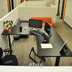 Titan L-Shaped Adjustable Sit to Stand Desk with Black Desktop