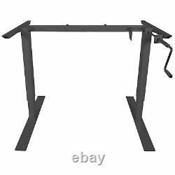 Titan Manual Hand Crank Adjustable Sit-Stand Desk Frame 50H 63W (Black)