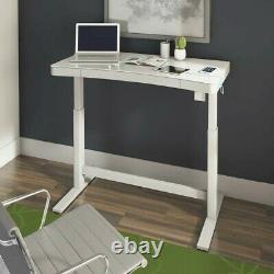 Tresanti Adjustable Desk, Sit or Stand, Wireless Charge, Heavy Steel, Glass Top