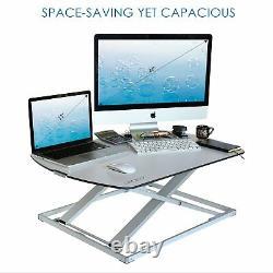 UPDEZK Height Adjustable Slim Sit Stand Standing Desk Converter Computer Riser