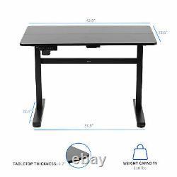 USED VIVO Black 43 x 24 Electric Sit Stand Desk, Height Adjustable Workstation