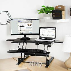 USED VIVO Black Corner Electric Height Adjustable Cubicle Sit Stand Desk Riser