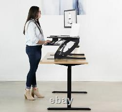 USED VIVO Black Height Adjustable Standing Desk Riser Tabletop Sit Stand USED
