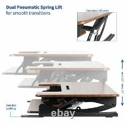 USED VIVO Dark Wood Height Adjust Standing Desk Monitor Riser Tabletop Sit Stand