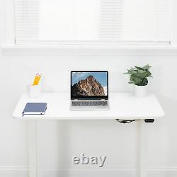 USED VIVO White Electric 40 x 24 Sit Stand Desk, Height Adjustable Workstation