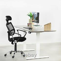 USED VIVO White Electric Sit Standing Height Adjustable Desk Frame Dual Motor