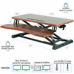 USED VIVO Wood Colored Height Adjustable Standing Desk Converter Sit Stand Riser