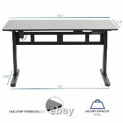 VIVO Black 55x 24 Electric Sit Stand Desk, Height Adjustable Workstation