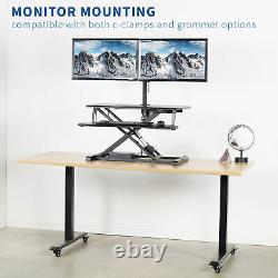 VIVO Black Electric Height Adjustable Standing Desk Sit-Stand Riser Workstation