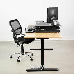 VIVO Black Electric Height Adjustable Standing Desk Tabletop Monitor Sit Stand