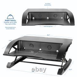 VIVO Black Elegant Height Adjustable Desk Converter Sit Stand Monitor Riser 36