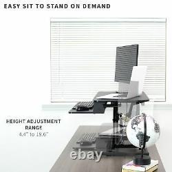 VIVO Black Height Adjustable 32 Standing Desk Monitor Riser, Sit Stand Tabletop