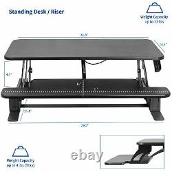 VIVO Black Height Adjustable 32 Standing Desk Monitor Riser Tabletop Sit Stand