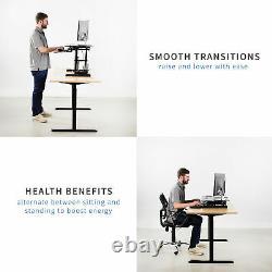 VIVO Black Height Adjustable Corner Desktop Monitor Riser 38 Sit Stand Tabletop