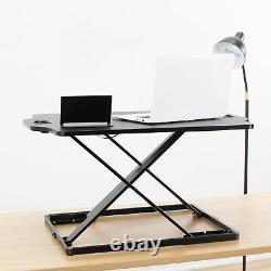 VIVO Black Height Adjustable Standing 27 Desk Sit Stand Tabletop Monitor Riser