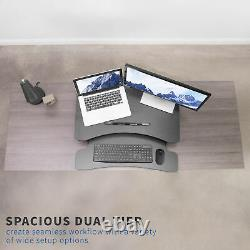 VIVO Black Height Adjustable Standing Desk Monitor Riser 30 Sit Stand Tabletop