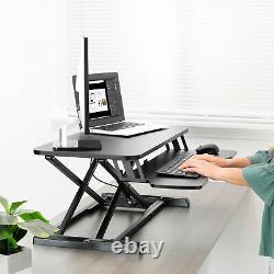 VIVO Black Height Adjustable Standing Desk Monitor Riser 32 Sit Stand Tabletop