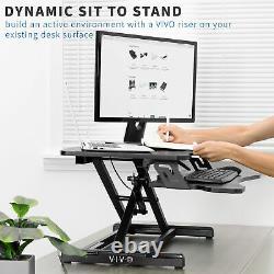 VIVO Black Height Adjustable Standing Desk Monitor Riser 33 Sit Stand Tabletop