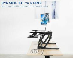 VIVO Black Height Adjustable Standing Desk Monitor Riser Tabletop Sit to Stand