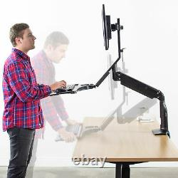 VIVO Black Premium Dual Monitor Adjustable Workstation Standing Desk Mount Riser