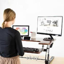 VIVO Dark Wood Height Adjustable Standing Desk Monitor Riser Tabletop Sit Stand