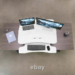 VIVO Deluxe Height Adjustable Standing Tabletop Desk Monitor Sit to Stand White