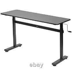 VIVO Height Adjustable 55 x 24 inch Standing Desk, Hand Crank Sit Stand Home and