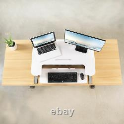 VIVO Height Adjustable Standing Desk Monitor Riser Tabletop Sit to Stand (White)