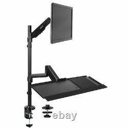 VIVO Sit-Stand Height Adjustable Pneumatic Arm Desk Mount for 1 Screen up to 32