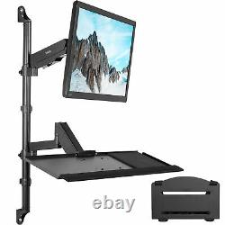 VIVO Sit-Stand Height Adjustable Pneumatic Arm Wall Mount for 1 Screen up to 32