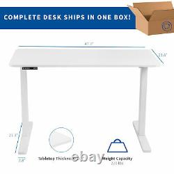 VIVO White 47x 24 Electric Sit Stand Desk, Height Adjustable Workstation