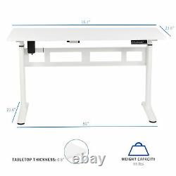 VIVO White 55x 24 Electric Sit Stand Desk, Height Adjustable Workstation