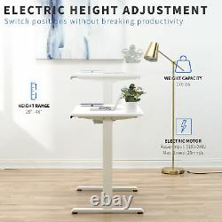 VIVO White Electric 40 x 24 Sit Stand Desk, Height Adjustable Workstation