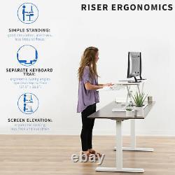 VIVO White Height Adjustable 38 Standing Desk Monitor Riser, Sit Stand Tabletop