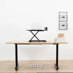 VIVO White Height Adjustable Standing 27 Desk Sit Stand Tabletop Monitor Riser