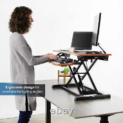 VIVO Wood Colored Height Adjustable Standing Desk Converter Sit Stand Riser
