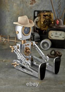 Vintage Style Adjustable Retro Robot Desk Clock Sturdy Table Standing Sitting