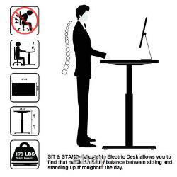 2 Couleurs Electric Height Adjustable Computer Desk 47''x23.5'' Sit-stand Desks Us