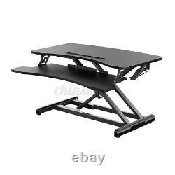 32'' Air Réglable De Bureau Debout Riser Tabletop Sit Monitor Stand Pour Pc Ordinateur Portable